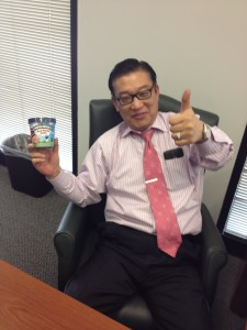 Meet Yong, of Ohio Financial Services in Fairfax.  He's sitting in one!  We gave him B&J's Red Velvet Ice Cream.  Great guy!