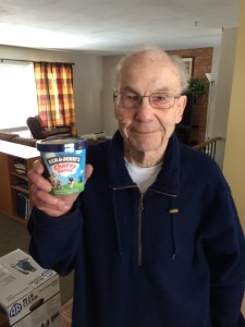 Meet Bob.  My 87 year-old buddy who insisted on helping me load a truck on Saturday.  He's from Wisconsin.  A great guy!  (Feb. 28, 2015)  Those Wisconsinons know their ice cream too :)