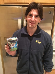 His family is moving to NY.  He got the ice cream.  Makes a mean pasta salad too :)